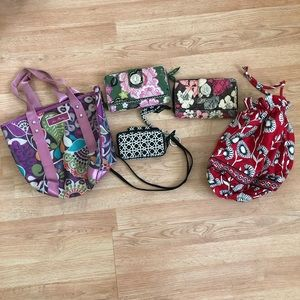Lot Of Vera Bradley Wallets Keychain Tote & Bag